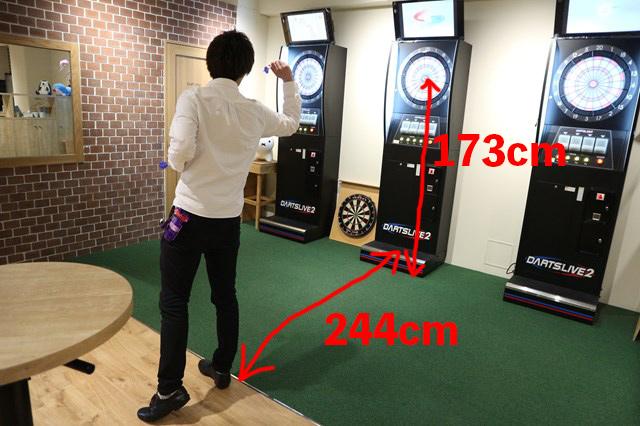 ダーツを投げる距離は244cm、ブルの高さは173cm